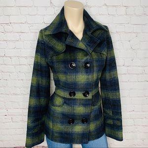 GRANE Plaid Peacoat Jacket Blue Green Sz S